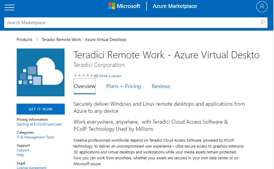 Teradici listing on Azure Marketplace